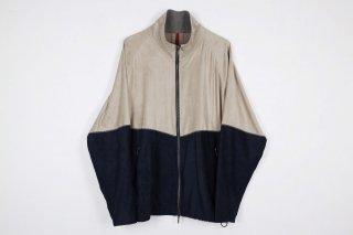 Suede Track Suit / beige×navy