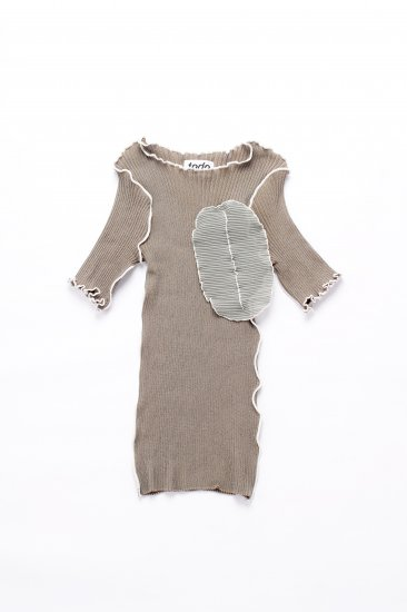 kotohayokozawa / short sleeve rib knit/dark gray