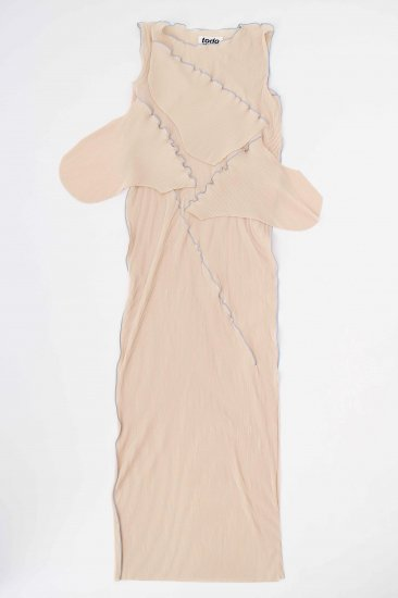kotohayokozawa / pleats dress (no-sleeve)/beige