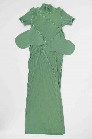 kotohayokozawa / pleats dress (short-sleeve high neck)/green