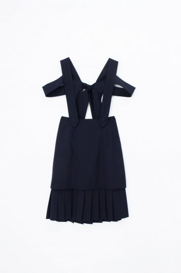 FUTATSUKUKURI/ スリングプリーツスカート/navy<br>受注商品の為、備考欄を必ずご確認ください。