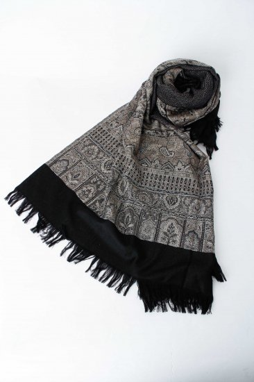 YANTOR / Tibetan Paisley Wool Stole / gray