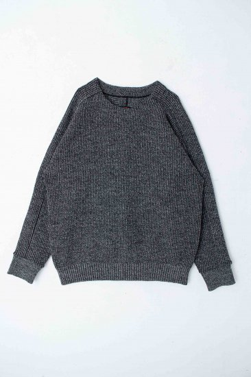 YANTOR / Plating Wool Cotton Wide Sweater / bk×wh