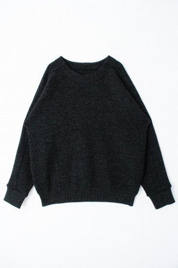 YANTOR / Plating Wool Cotton Wide Sweater / deep frest