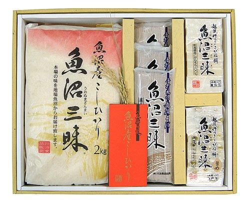 魚沼三昧(米・そば・餅)和紙包装2kg×1 越後そば200g×3束 こがね餅×2個