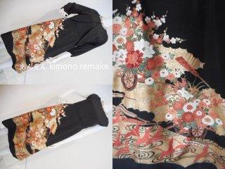 黒留袖から ワンピース & ボレロジャケット 鶴 牡丹 梅 菊 11号 M
