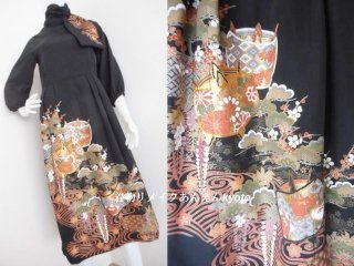 刺繍 黒留袖 パフスリーブ ロングワンピース & ストール 糸巻 藤 梅 松 9号 M