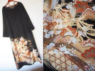 糸目刺繍 黒留袖から ロングワンピース 夫婦鳳凰 松梅 21号〜23号 3L