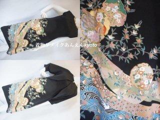 糸目刺繍 黒留袖から ワンピース & ボレロジャケット 9号〜11号 M