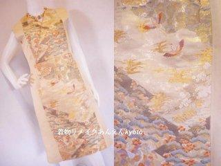西陣織 袋帯 裂取瑞祥文 着物風 ワンピース 金 淡いベージュ系 11号〜13号 M〜L