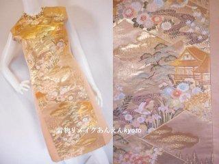 西陣織 袋帯 綺麗なライン ワンピース 金 ベージュ系 9号 M