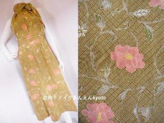 小紋から ホルターネック ロングワンピース カーキ色系 唐草 花柄 11号〜13号 M〜L