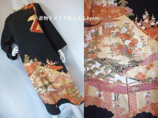 黒留袖から 切り替え 綺麗なライン ワンピース 総裏付き 庭園 19号〜23号 3L
