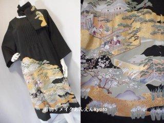 黒留袖 金加工 ピンタック ワンピース&ストール 鶴 松 平安貴族 23号〜25号 3L〜4L