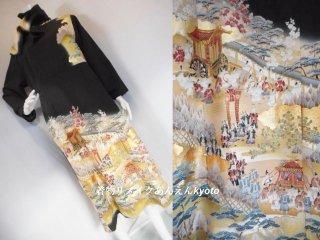 糸目刺繍 平安貴族 黒留袖から ワンピース & ストール 17号〜23号 LL〜3L