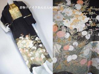 西陣織 袋帯& 刺繍 黒留袖 ロング ドレス ワンピース & ショール 季節の花 13号 L