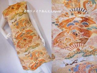 西陣織 レトロ 丸帯 ワンピース 綺麗なライン ベージュ 橙系 13号〜15号 L