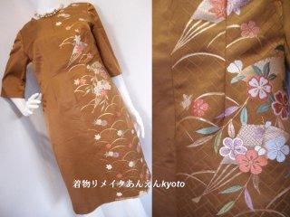 西陣織 袋帯 ワンピース ブラウン 茶系 扇子 梅 桜 紅葉 綺麗なライン 七分袖 9号 M