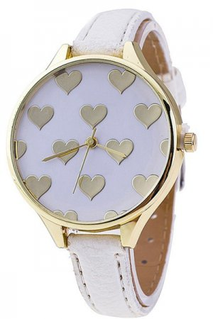 Gold Heart Watch (White)