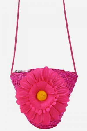 Hot Pink Flower Embellished Straw Crossbody Bag
