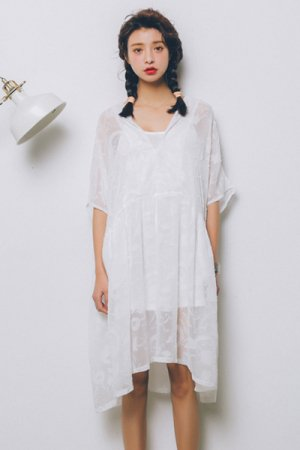 <img class='new_mark_img1' src='https://img.shop-pro.jp/img/new/icons20.gif' style='border:none;display:inline;margin:0px;padding:0px;width:auto;' />See-Through Lace Girly Dress (White)