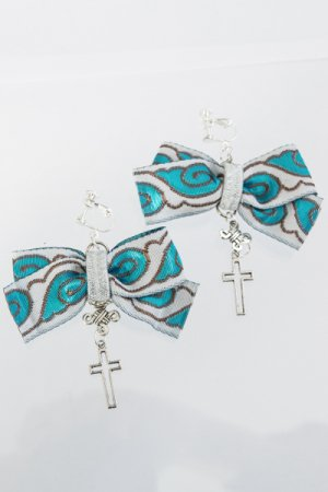 XTS China BlueWhite Ribbon Earring