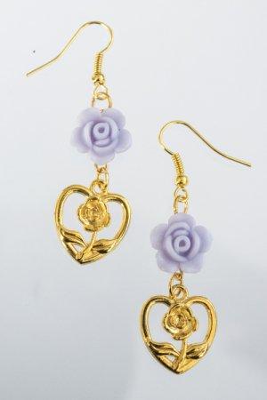 XTS Purple Rose Hearts Gold Pierce