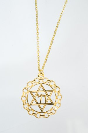 XTS Chain Circle Hexagram Necklace (Gold)