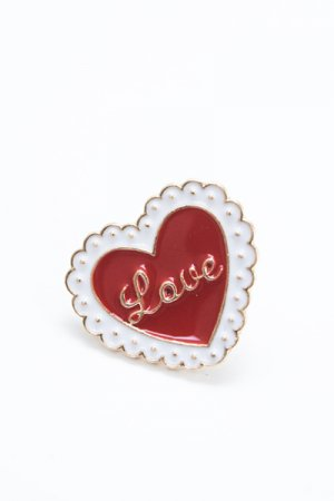 Lace Heart Pin Badge (Red)
