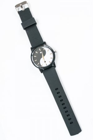 Yin And Yang Black Rubber Watch