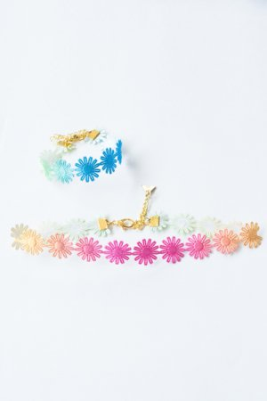 XTS Flower Lace Choker & Bracelet 2(Colorful)