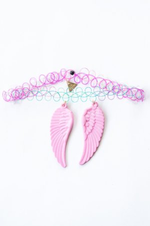 XTS Wings Tattoo Necklace (Light Pink)