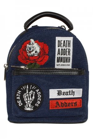 MISHKA DENIM PATCH MINI BACKPACK