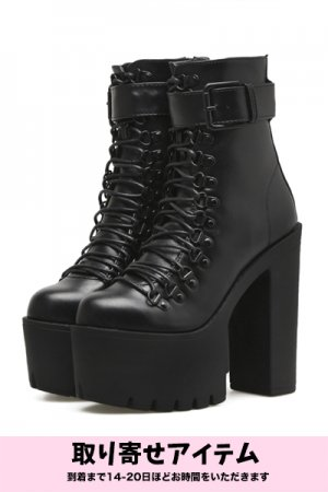 PU Leather Black Shoelace Platform (Black)【予約商品】