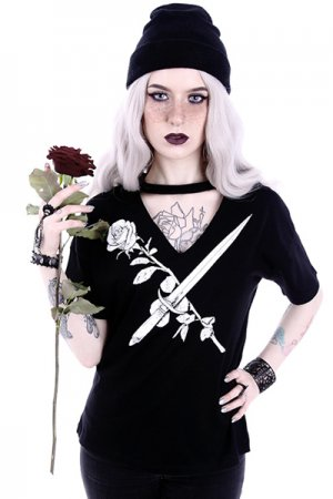 Restyle V-neck with choker T-shirt (STAY SHARP)