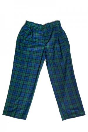 Tartan Check Mens Wide Pants (Green)