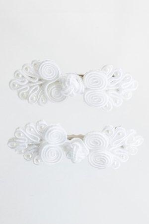 XTS China Button Hair Pin 2pcs Set (White)