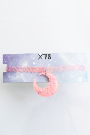 XTS Glitter Moon Tattoo Choker (Light Pink)