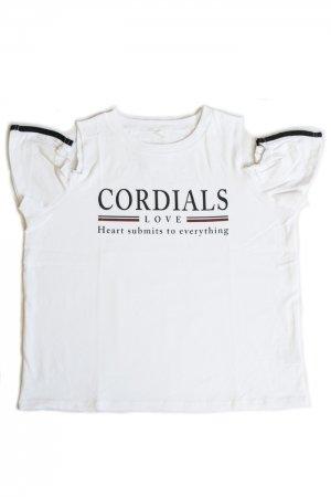 Shoulder Opened Frill Sleeve T-shirt (White)