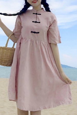 3 China Button Casual S/S Mini Dress (Pink)
