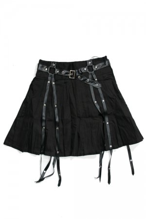 ACDC RAG Punk Harness Pleat Skirt (Black)