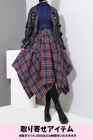 <img class='new_mark_img1' src='https://img.shop-pro.jp/img/new/icons29.gif' style='border:none;display:inline;margin:0px;padding:0px;width:auto;' />Big Frill Tartan Check Long Skirt (Navy)【予約商品】【10月下旬までにお届け】