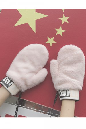 Fur And Synthetic Leather Pop Gloves (Pink)