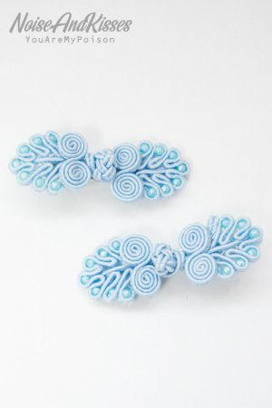 XTS China Button Hair Pin 2pcs Set (Light Blue)