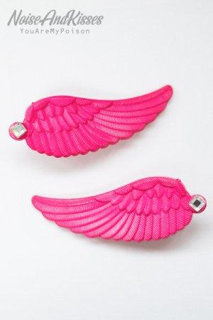 XTS Twin Wings Hair Pin Set (Deep Pink)