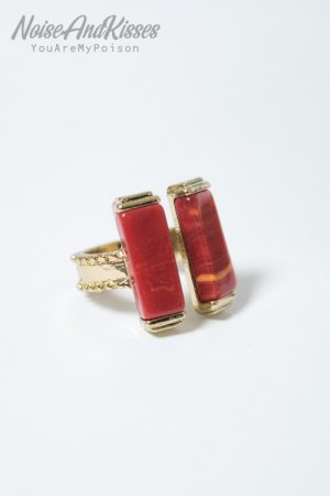 Double Stone Ring (Red)