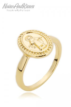 Guadalupe Angel Medal Point Ring (Gold)