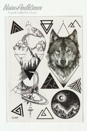 Tattoo Sticker Sheet (Wolf Night)
