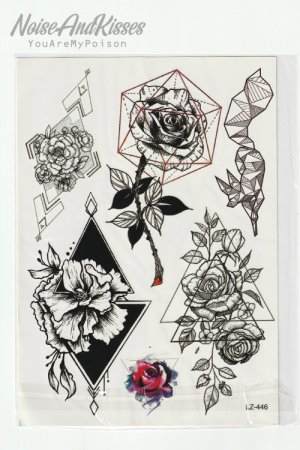 <img class='new_mark_img1' src='https://img.shop-pro.jp/img/new/icons8.gif' style='border:none;display:inline;margin:0px;padding:0px;width:auto;' />Tattoo Sticker Sheet (Geome Roses)