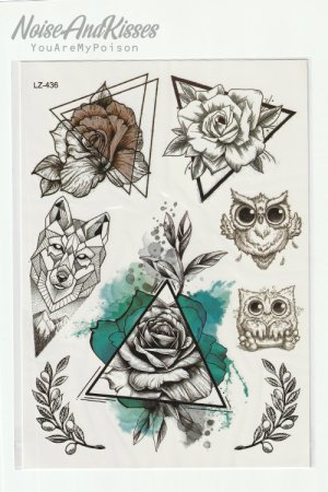 Tattoo Sticker Sheet (Water Rose)